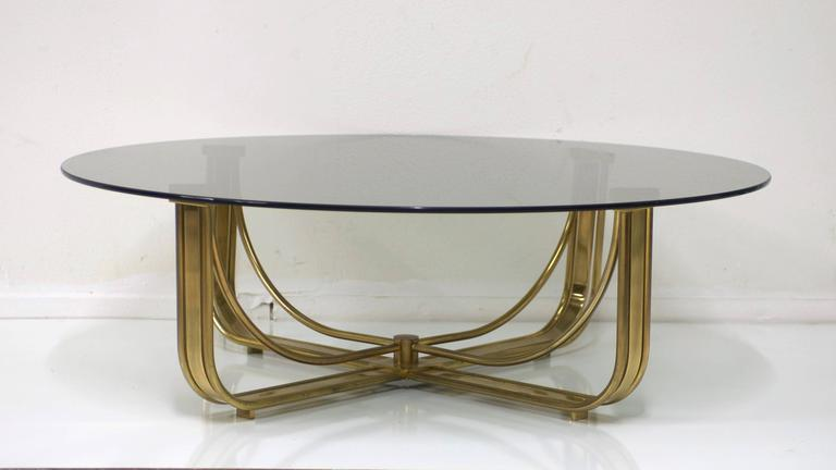mastercraft brass coffee table with round smoked grey glass top for sale at 1stdibs. Black Bedroom Furniture Sets. Home Design Ideas