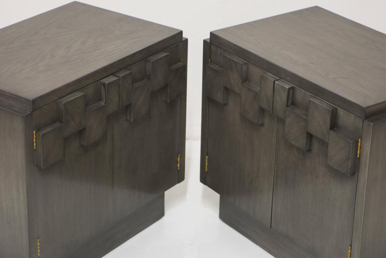 Charcoal Grey Lane Brutalist Mosaic Nightstands For Sale At 1stdibs
