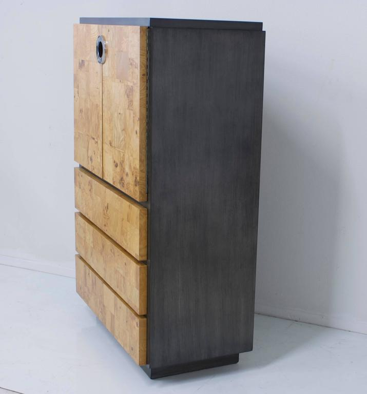 Mid-Century Modern Burl Wood and Charcoal Grey Tall Cabinet or Drybar For Sale