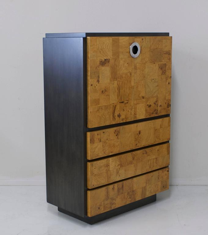 American Burl Wood and Charcoal Grey Tall Cabinet or Drybar For Sale