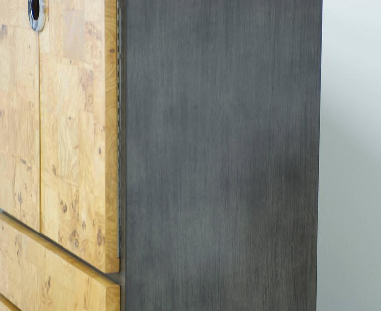 Late 20th Century Burl Wood and Charcoal Grey Tall Cabinet or Drybar For Sale