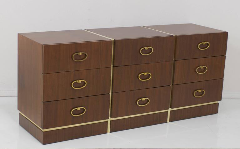 Mid-Century Modern Walnut Dresser by Founders with Brass Accents and Hardware For Sale