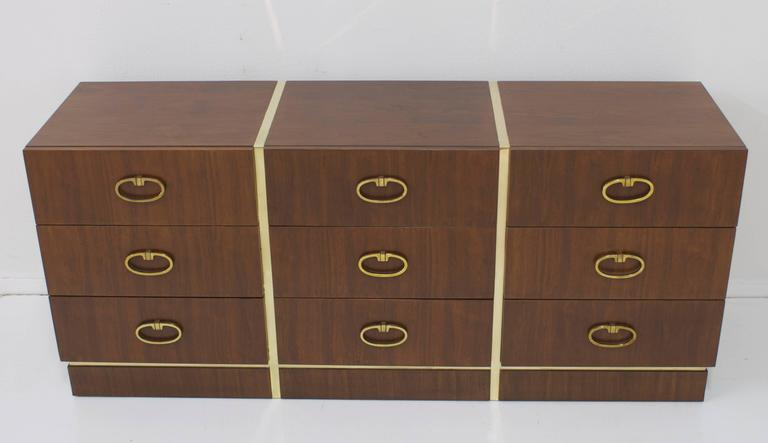 Walnut Dresser by Founders with Brass Accents and Hardware In Good Condition For Sale In Palm Springs, CA