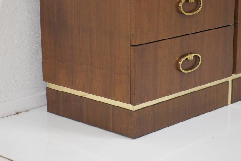 20th Century Walnut Dresser by Founders with Brass Accents and Hardware For Sale