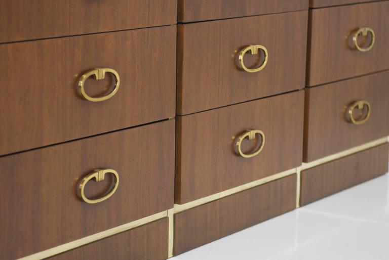 Walnut Dresser by Founders with Brass Accents and Hardware For Sale 1