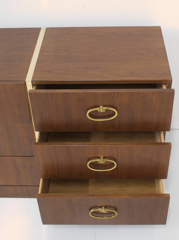 Walnut Dresser by Founders with Brass Accents and Hardware For Sale 2