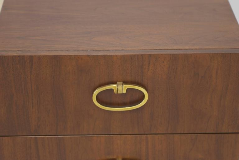 Walnut Dresser by Founders with Brass Accents and Hardware For Sale 3