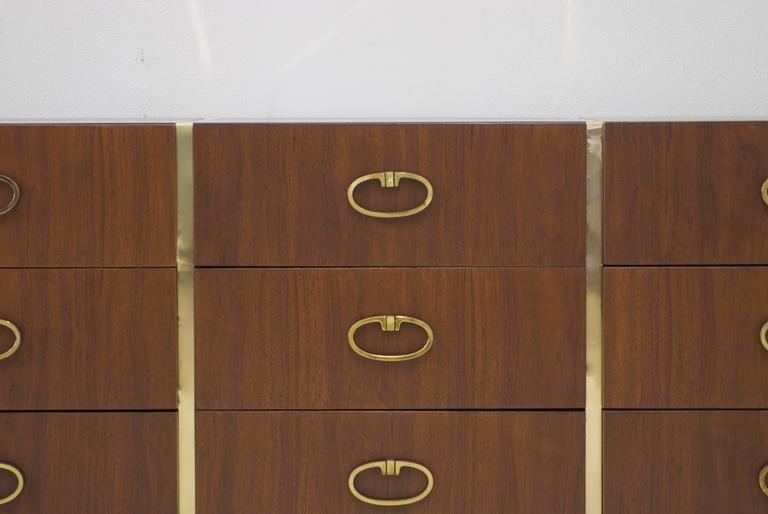 Walnut Dresser by Founders with Brass Accents and Hardware For Sale 4