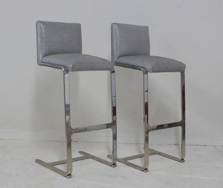 Pair of Bar Height Flat Bar Polished Steel Bar Stools 2