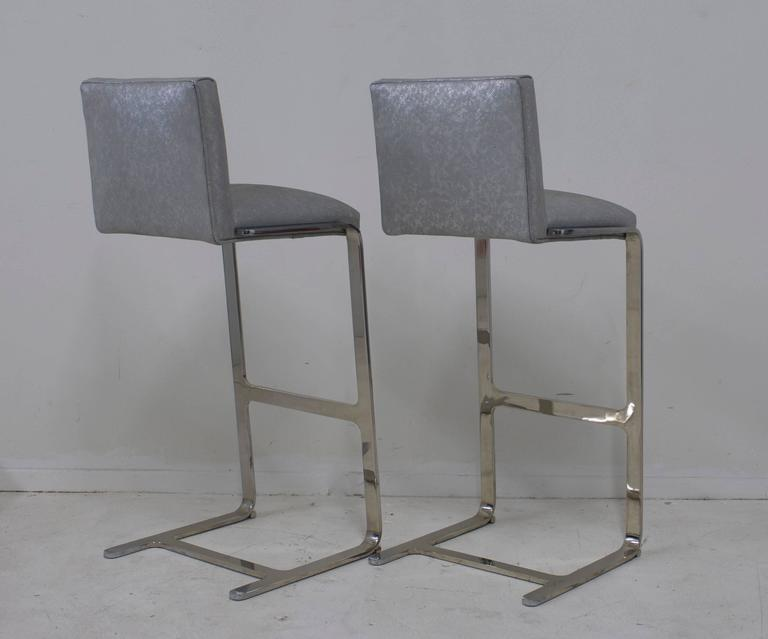 Pair of Bar Height Flat Bar Polished Steel Bar Stools 3