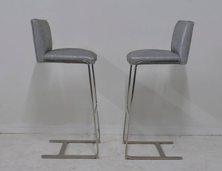 Pair of Bar Height Flat Bar Polished Steel Bar Stools 4