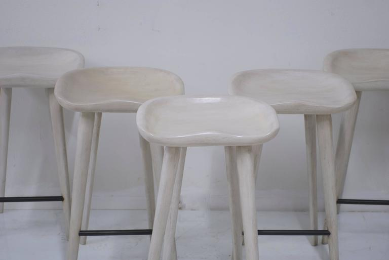Set Of Five Bar Height Tractor Seat Wooden Bar Stools In