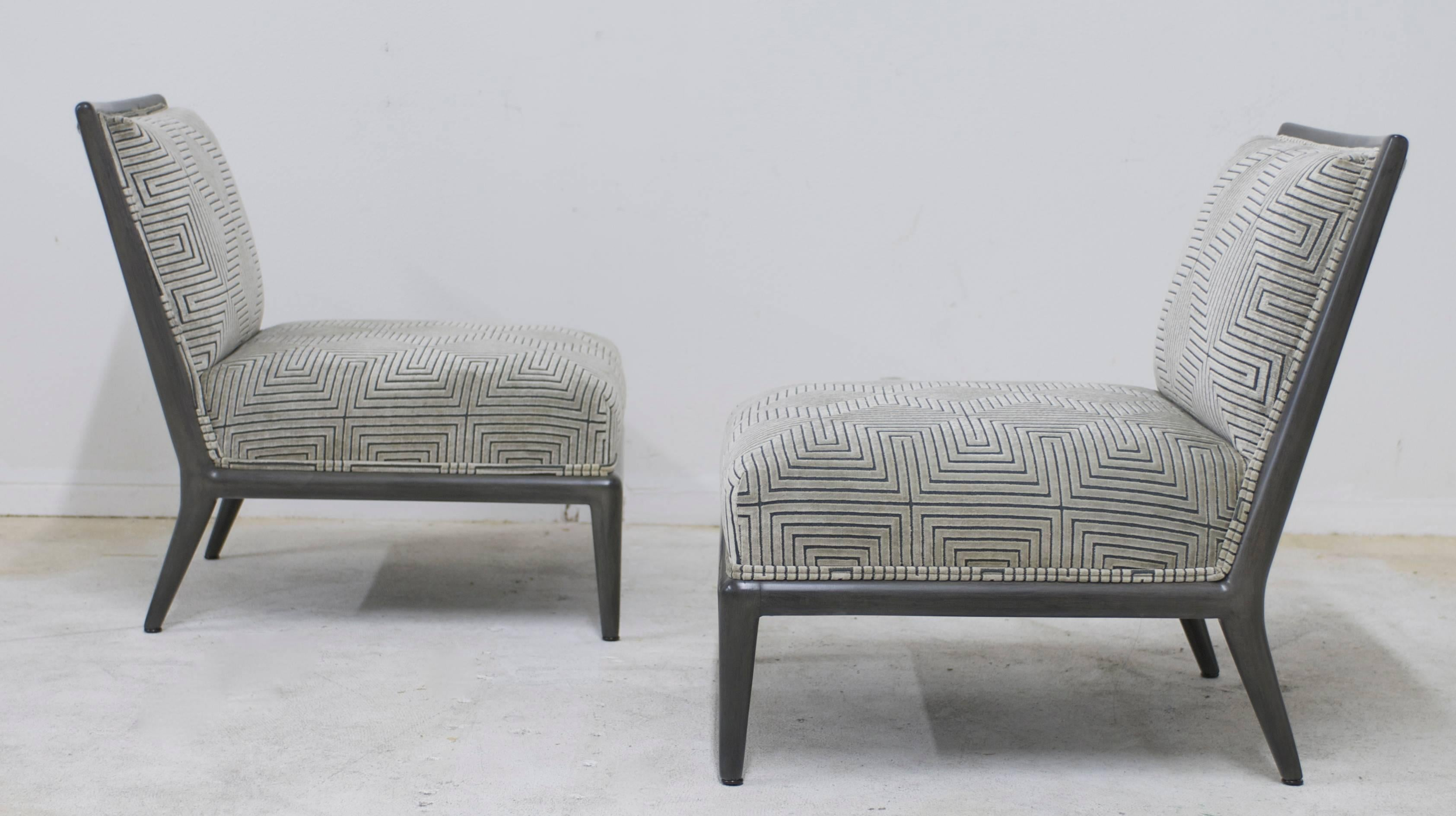 Mid Century Modern Pair Of Charcoal Grey Finish Geometric Cut Velvet  Mid Century Slipper