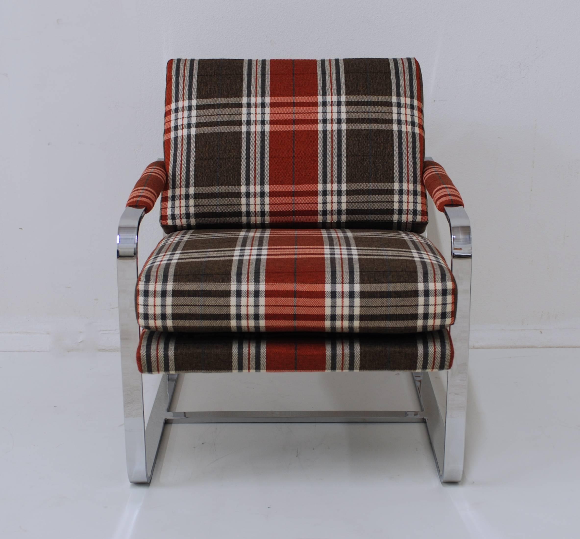 Chrome Milo Baughman Style Lounge Chair With Tartan Fabric For Sale 1
