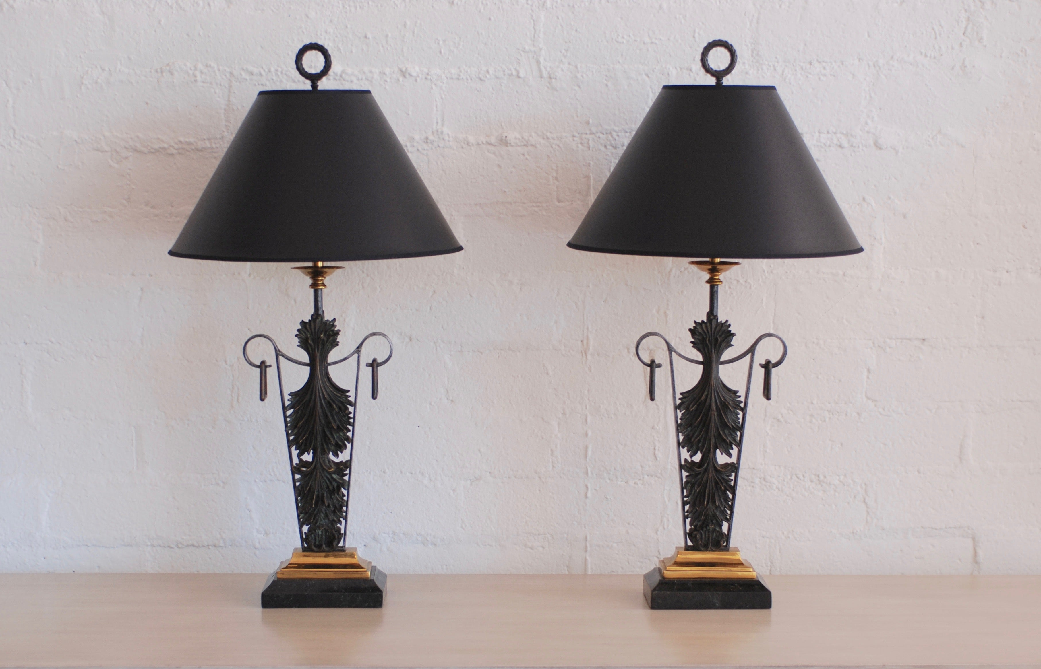 Pair Of Maitland Smith Bronze And Brass And Marble Table Lamps For