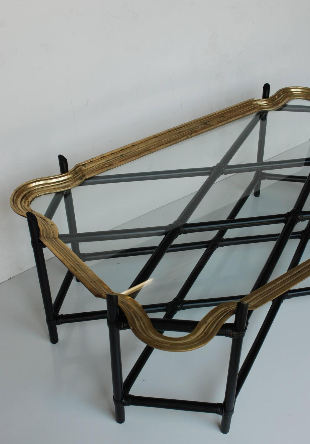 Faux Bamboo And Glass And Brass Tray Coffee Table For Sale At 1stdibs