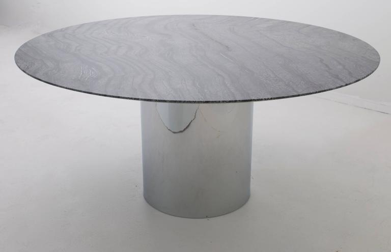Knoll Dining Table With 60 Quot Round Marble Top At 1stdibs