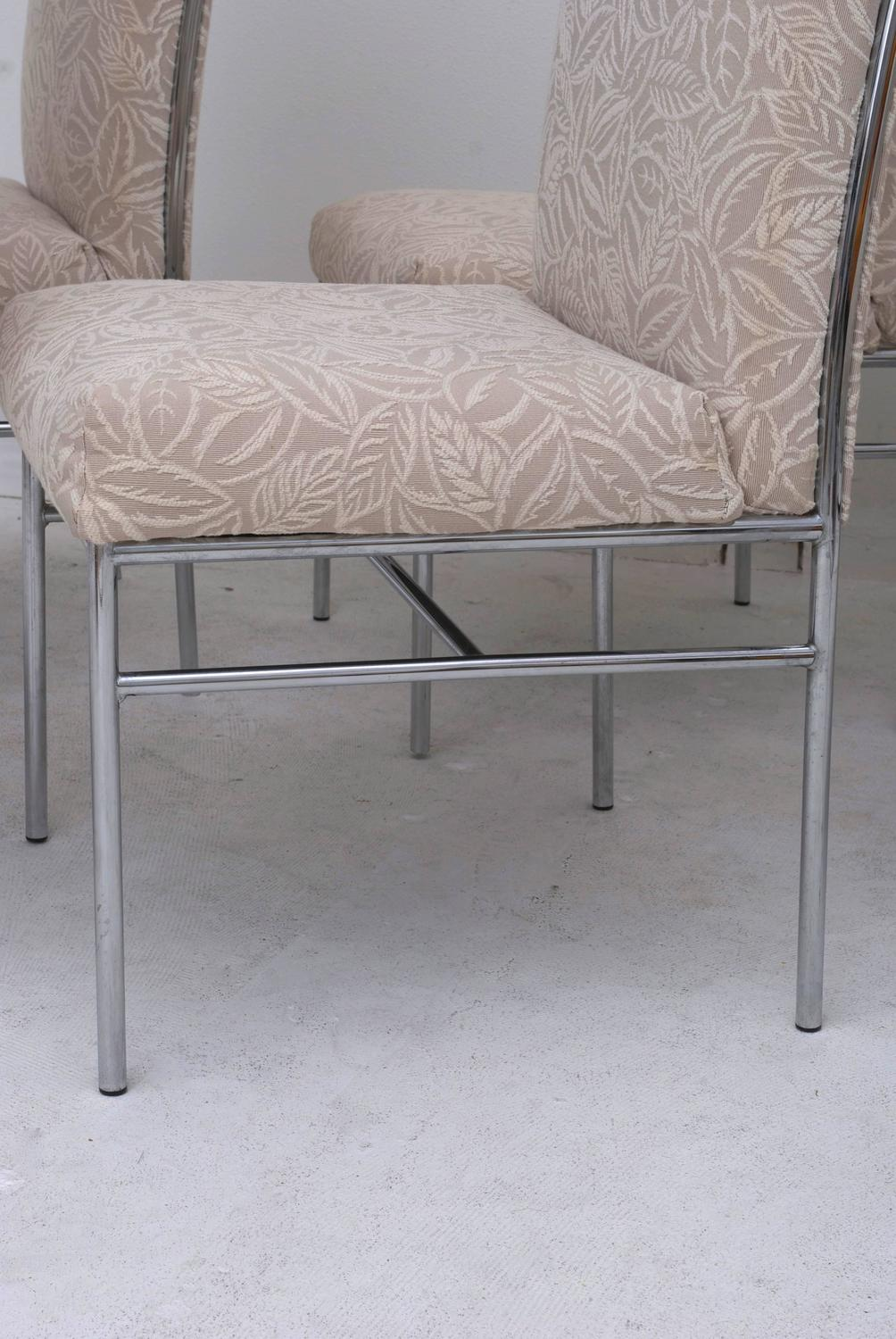 set of six chrome milo baughman style dining chairs original fabric for sale at 1stdibs