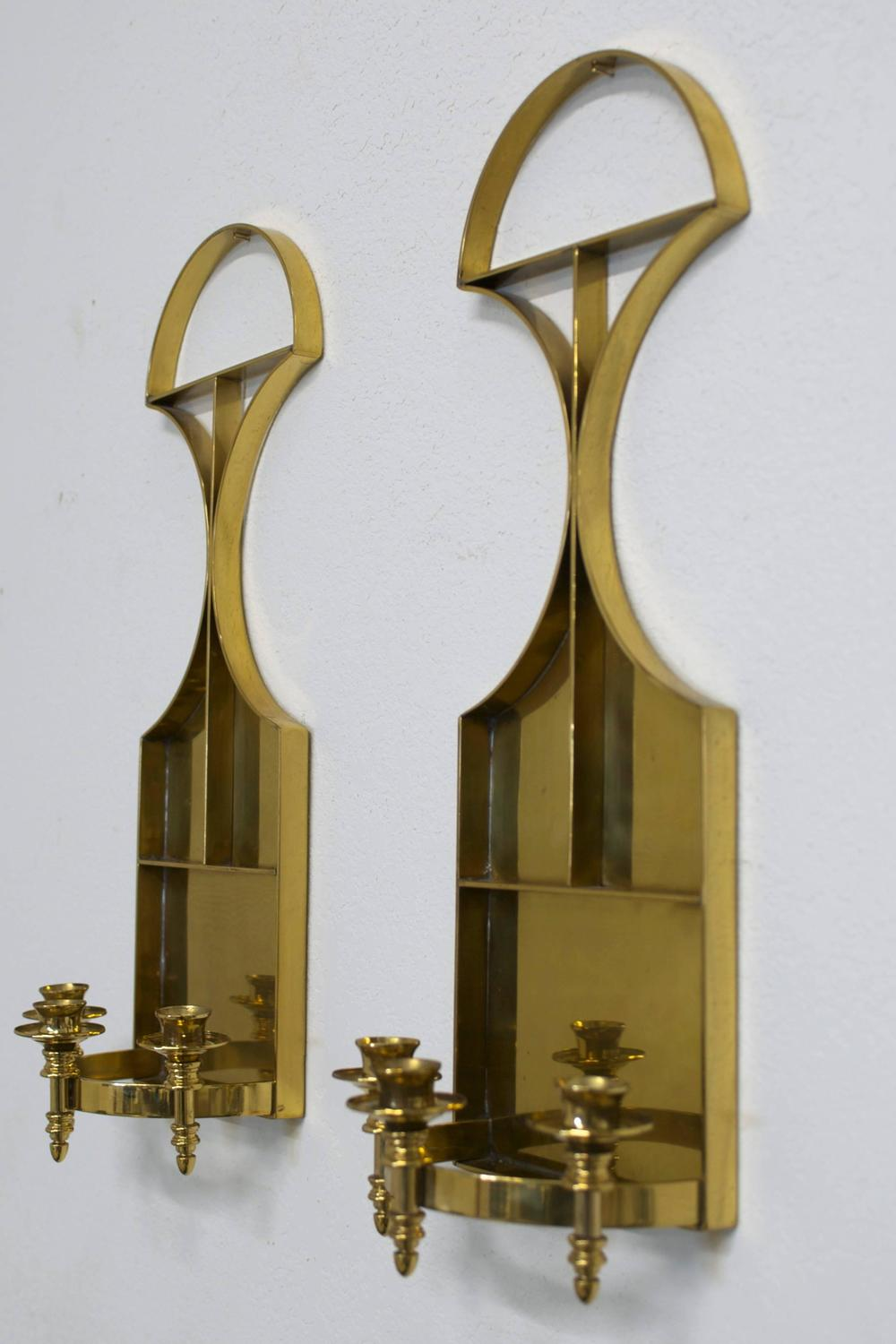 Pair of Solid Brass Mid-Century Candle Wall Sconces For Sale at 1stdibs