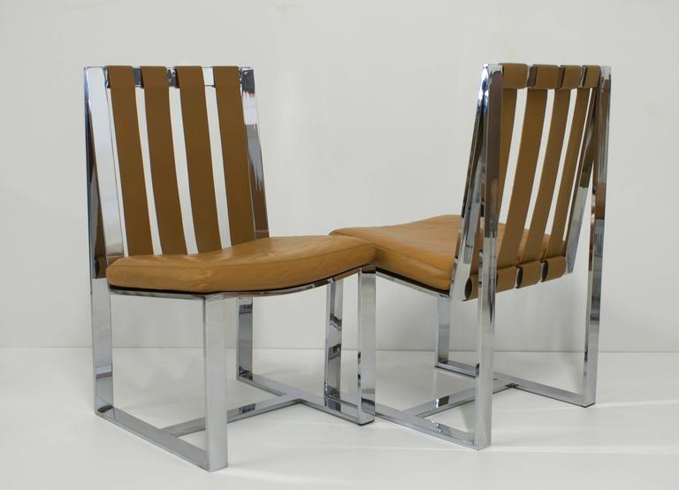 Rare Set of Six Flat Bar and Leather Milo Baughman Dining Chairs In Good Condition For Sale In Palm Springs, CA