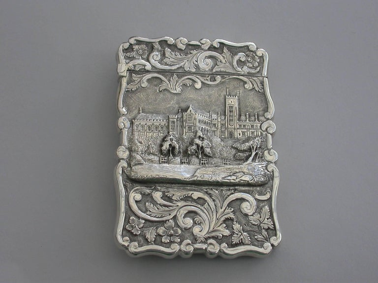 a rare victorian silver castle top card case of shaped rectangular form