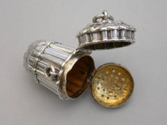 """Victorian Novelty Silver """"Pannier"""" Vinaigrette by Archibold Douglas 1874"""