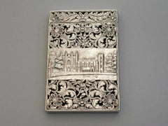 William IV Silver Castle Top Card Case Newstead Abbey with Lord Byron Medallion