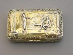 George III Silver Gilt Snuff Box 'Achilles & Agamemnon' by Joseph Willmore 1814