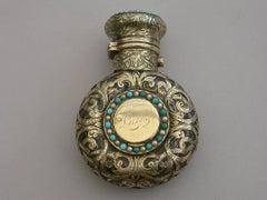 Victorian Silver Gilt Mounted Scent Bottle Vinaigrette 'Turquoise & Pearl' 1867
