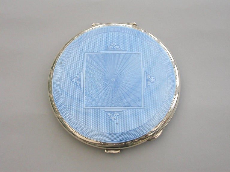 Large Mid 20th Century Silver And Sky Blue Guilloche