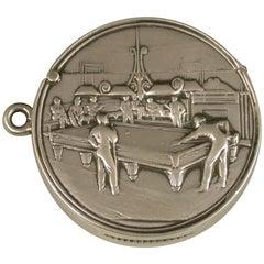 Rare Edwardian Antique Silver 'Billiards' Vesta Case by George Houston, 1907