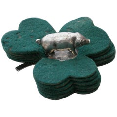 Edwardian Novelty Silver Pig & Shamrock Pen Wipe, Sampson Mordan, Chester, 1909