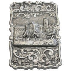 "Victorian Silver Castle-Top Card Case ""Queens College Cork"", By F Marston, 1872"