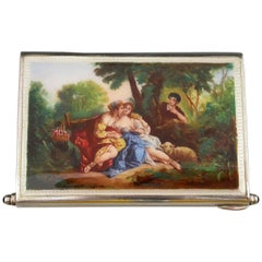 Early 20th Century Continental Silver and Enamel Minaudiere Pastoral Scene