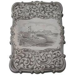 "Victorian Antique Silver ""Castle-Top"" Card Case Gothic Spa Scarborough, 1843"