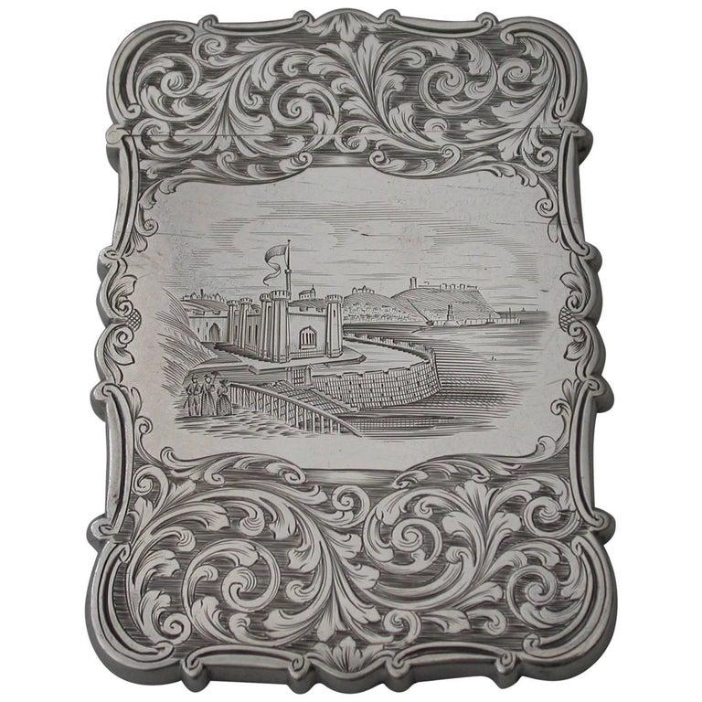 "Victorian Antique Silver ""Castle-Top"" Card Case Gothic Spa Scarborough, 1843 For Sale"