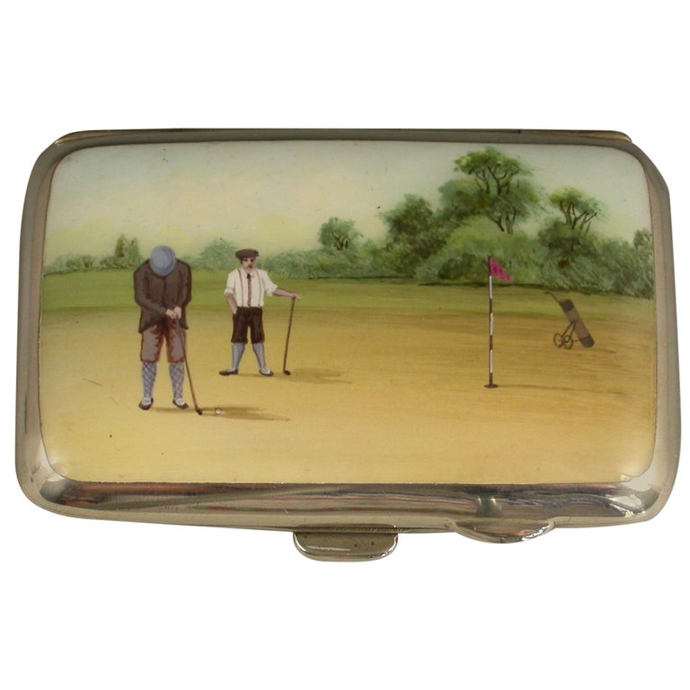 George V Silver and Enamel Golfing Scene Cigarette Case, by Joseph Gloster, 1915 For Sale