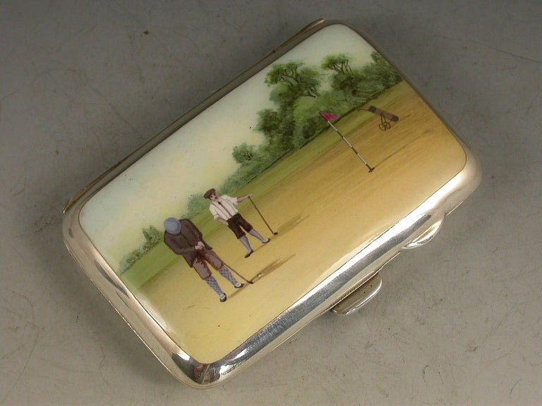 George IV George V Silver and Enamel Golfing Scene Cigarette Case, by Joseph Gloster, 1915 For Sale