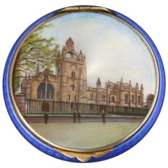 Continental Silver Gilt and Enamel Compact with a View of Kings College Aberdeen
