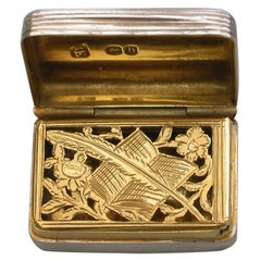 "George IV Silver Vinaigrette ""Quill Pen and Book Grille"" by William Edwards 1823"