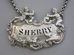 """George IV Cast Silver """"Five Topers"""" Wine Label 'Sherry' by Edward Farrell, 1827"""