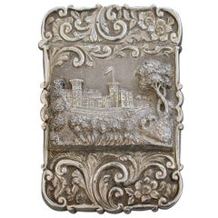 """Victorian Silver Castle-Top Card Case """"Osborne House"""" from the Shrubbery 1851"""