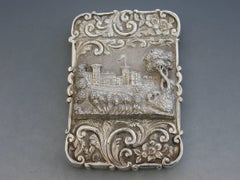 "Victorian Silver Castle-Top Card Case ""Osborne House"" from the Shrubbery 1851"