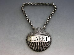 George III Cast Silver Scallop Shell Wine Label 'Claret', Benjamin Smith, 1807