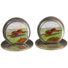 Pair of Edwardian Silver and Enamel 'Hare' Menu Holders, S Mordan Chester, 1904