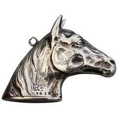 Victorian Novelty Silver Figural Horses Head Vesta Case, H B S, Birmingham, 1884