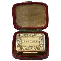 George III Cased Silver Gilt 'Souvenir' Vinaigrette, Samuel Pemberton, 1814