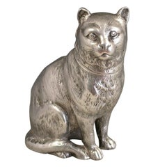 Victorian Novelty Antique Cast Silver Cat Pepper. by E H Stockwell, London, 1876