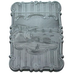"Victorian Silver ""Castle-Top"" Card Case Brighton Chain Pier Nathaniel Mills 1849"