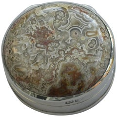 George III Antique Silver Petrified Wood Vinaigrette by John Reily, London, 1816